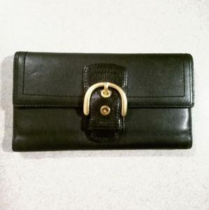 Coach black long leather wallet slim buckle